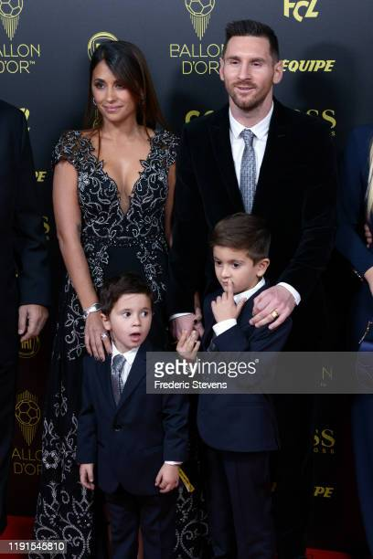 Antonella Roccuzzo and husband Lionel Messi attend the photocall before the Ballon D'Or Ceremony at Theatre Du Chatelet on December 02 2019 in Paris...