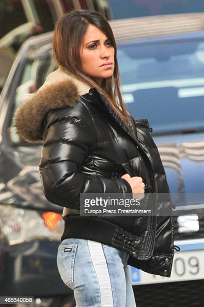 Antonella Roccuzzo is seen as her parents spend some days in Barcelona after thieves broke into their home on March 3 2015 in Barcelona Spain