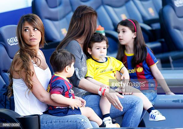 Antonella Roccuzzo Messi's wife and his son in the match between FC Barcelona and Getafe for Week 36 of the spanish Liga BBVA played at the Camp Nou...