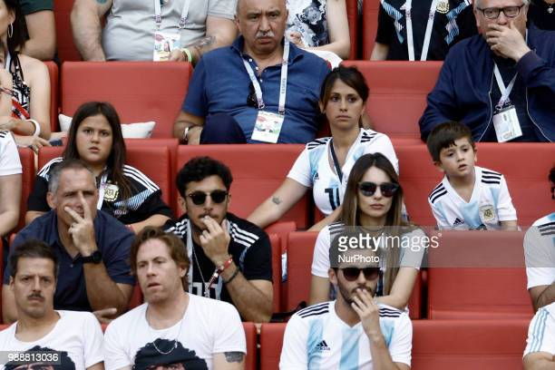 Antonella Roccuzzo wife of Argentina's Lionel Messi in the stands with their sons Mateo Messi and Ciro Messi attend the Football World Cup France vs...