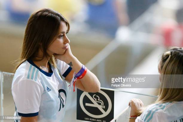 Antonella Roccuzzo wife of Lionel Messi looks on from the stands prior to the Copa America Brazil 2019 Semi Final match between Brazil and Argentina...