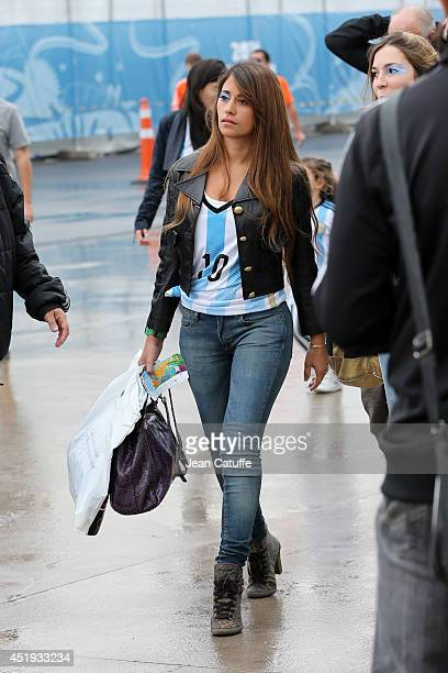 Antonella Roccuzzo, wife of Lionel Messi of Argentina, attends the 2014 FIFA World Cup Brazil Semi Final match between Netherlands and Argentina at...