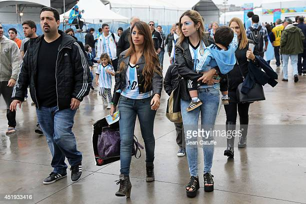 Antonella Roccuzzo wife of Lionel Messi of Argentina attends the 2014 FIFA World Cup Brazil Semi Final match between Netherlands and Argentina at...