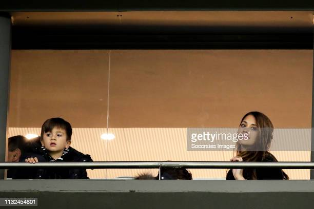 Antonella Roccuzzo wife of Lionel Messi of Argetina in the stands with their sons Mateo Messi and Ciro Messi during the International Friendly match...