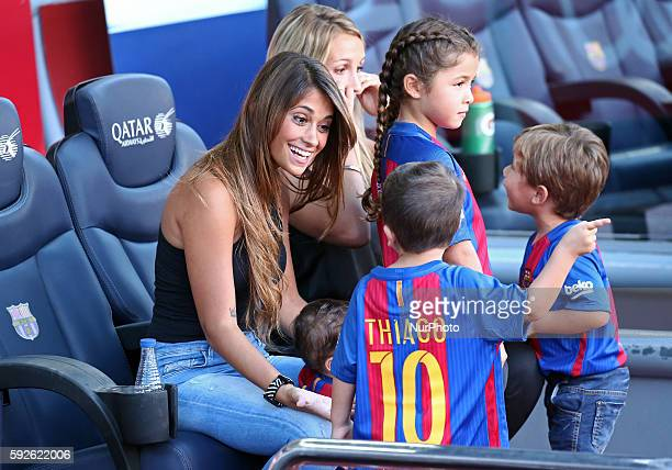 Antonella Roccuzzothe wife of Leo Messi with his children Thiago and Mateo during La Liga match between FC Barcelona v Betis in Barcelona on August...