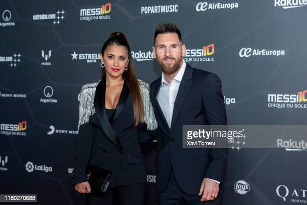 Antonella Rocuzzo and Lionel Messi attend the photocall of 'Messi 10' by Cirque du Soleil on October 10 2019 in Barcelona Spain