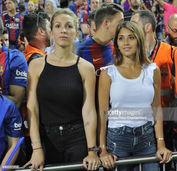 Antonella Rocuzzo and Sofia Balbi attend the Copa del Rey Final match between FC Barcelona and Alaves FC at Vicente Calderon Stadium on May 28 2017...