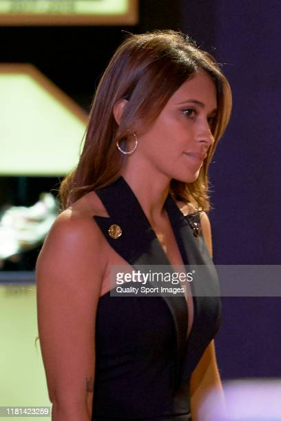 Antonella Rocuzzo wife of Lionel Messi of FC Barcelona attends to the 2018-19 Season European Golden Shoe award for Europe's top scorer for the sixth...