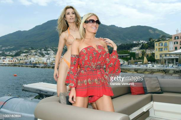 Mara Venier Pascal Vicedomoini and Marina Cicogna attends 2018 Ischia Global Film Music Fest on July 16 2018 in Ischia Italy