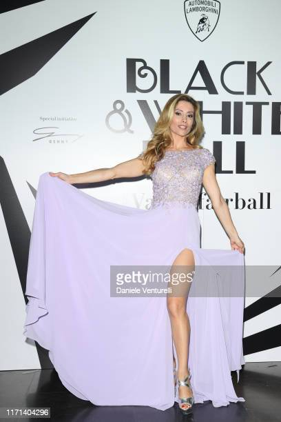 """Antonella Salvucci attends the Vanity Fair """"Black And White"""" Ball Photocall during the 76th Venice Film Festival at Scuola Grande della Misericordia..."""