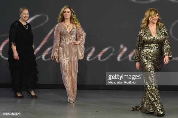 Antonella Salvucci, Eleonora Lastrucci and Debora Caprioglio at presentation of the new collection of the designer Eleonora Lastrucci at the goldtv...