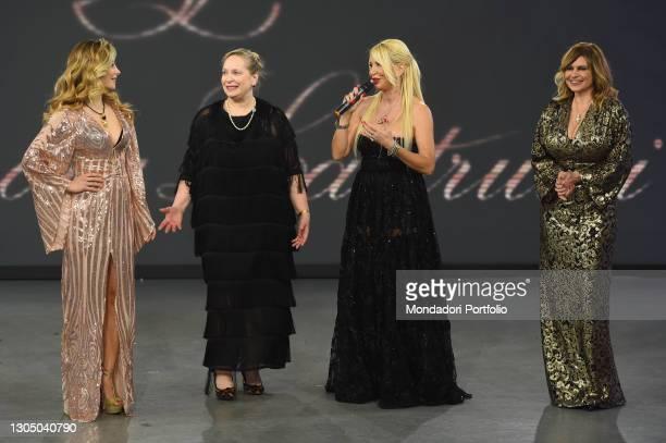Antonella Salvucci, Eleonora Lastrucci, Debora Caprioglio at presentation of the new collection of the designer Eleonora Lastrucci at the goldtv...