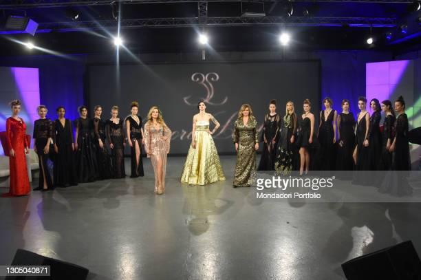 Antonella Salvucci, Jessica Antonini and Debora Caprioglio at presentation of the new collection of the designer Eleonora Lastrucci at the goldtv...