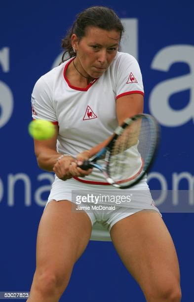 Antonella Serra Zanetti of Italy plays a backhand during her first round match against Samantha Stosur of Australia in the DFS Classic Womens...