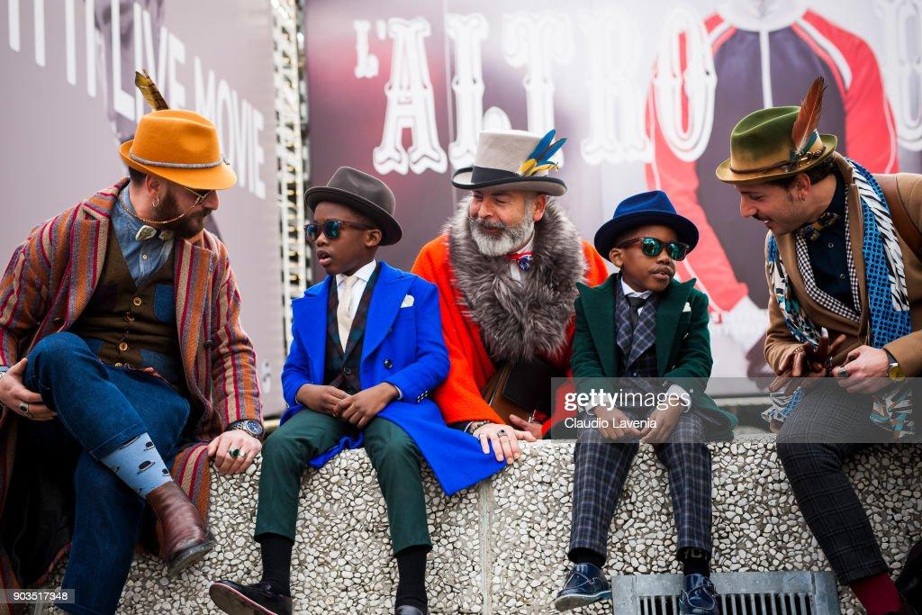 Antonello Marmora, Emidio Marmora, Stefano Agnoloni and kids, are seen during the 93. Pitti Immagine Uomo at Fortezza Da Basso on January 10, 2018 in Florence, Italy.