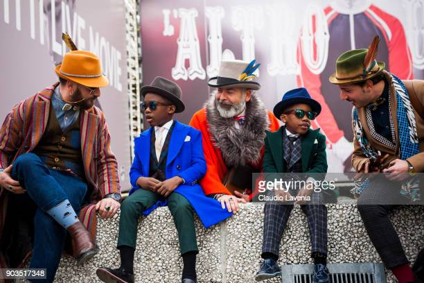 Antonello Marmora Emidio Marmora Stefano Agnoloni and kids are seen during the 93 Pitti Immagine Uomo at Fortezza Da Basso on January 10 2018 in...