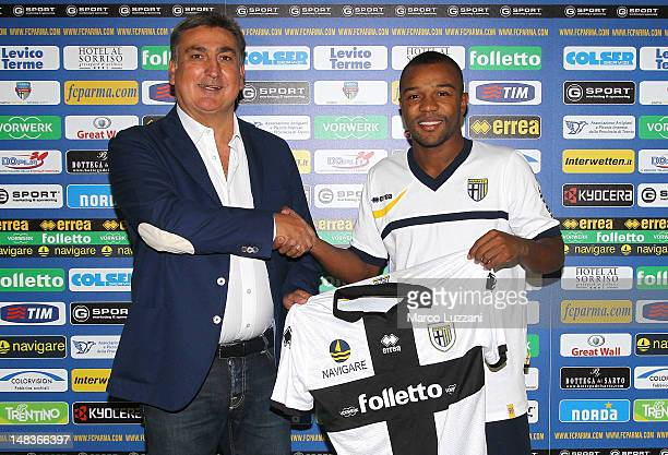 Antonello Preiti and new signing Dorlan Pabon during an unveiling press conference during day two of the Parma FC pre-season training camp on July...