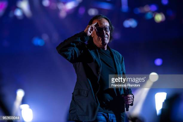 Antonello Venditti attends at Ermal Meta concert and perform on stage at Mediolanum Forum on April 28 2018 in Milan Italy