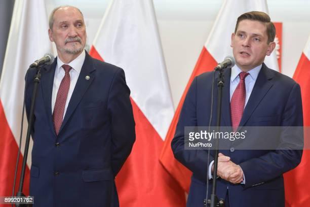 Antoni Macierewicz Minister of National Defence for Poland and Bartosz Kownacki Deputy Minister of National Defense during a press conference...