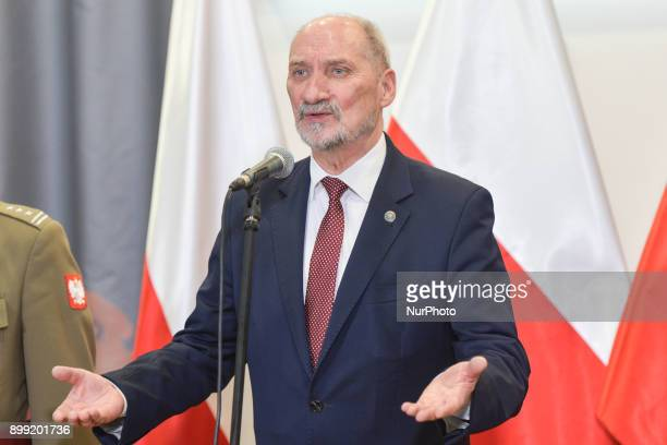 Antoni Macierewicz Minister of National Defence for Poland during a press conference summarizing the last year of Polish army modernisation and...