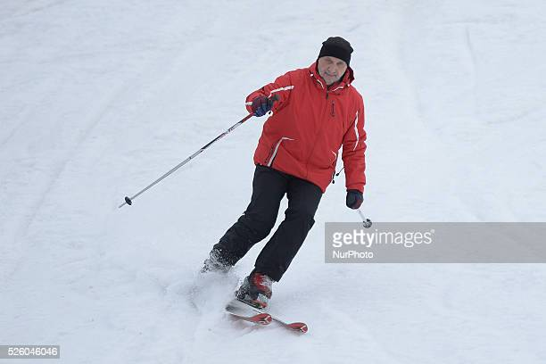 Antoni Macierewicz Polish Minister of Defence skies at the fourth Maria Kaczynsk's Ski Alpin Memorial in the Slalom Giant 8 February 2016 Rabka Zdroj...