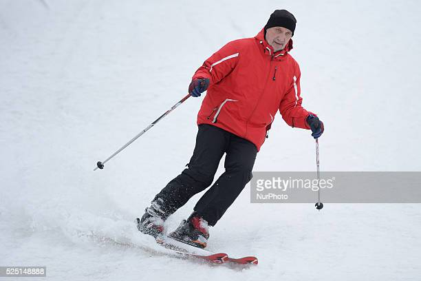 Antoni Macierewicz Polish Minister of Defence skies down the mountain during the fourth Maria Kaczynsk's Ski Alpin Memorial in the Slalom Giant 8...