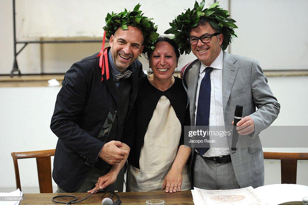 Antoni Marras, Francesca Alfano Miglietti and Franco Marrocco attend Antonio Marras Receives Honorary Degree From Academy of Fine Arts of Brera on June 12, 2013 in Milan, Italy.