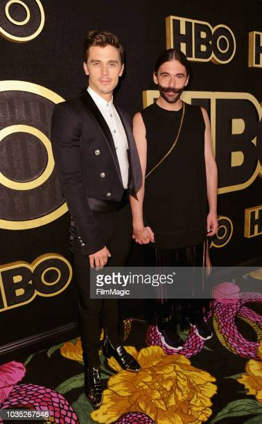 Antoni Porowski and Jonathan Van Ness arrive at HBO's Official 2018 Emmy After Party on September 17 2018 in Los Angeles California