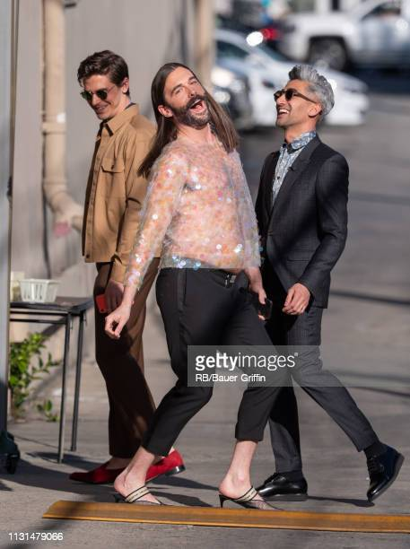 Antoni Porowski, Jonathan Van Ness and Tan France are seen at 'Jimmy Kimmel Live' on March 18, 2019 in Los Angeles, California.