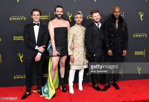 Antoni Porowski, Jonathan Van Ness, Tan France, Bobby Berk and Karamo Brown pose in the press room during the 2019 Creative Arts Emmy Awards on...