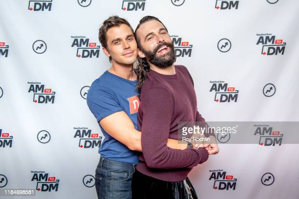 """Antoni Porowski with Jonathan Van Ness as they visits BuzzFeed's """"AM To DM"""" on October 31, 2019 in New York City."""