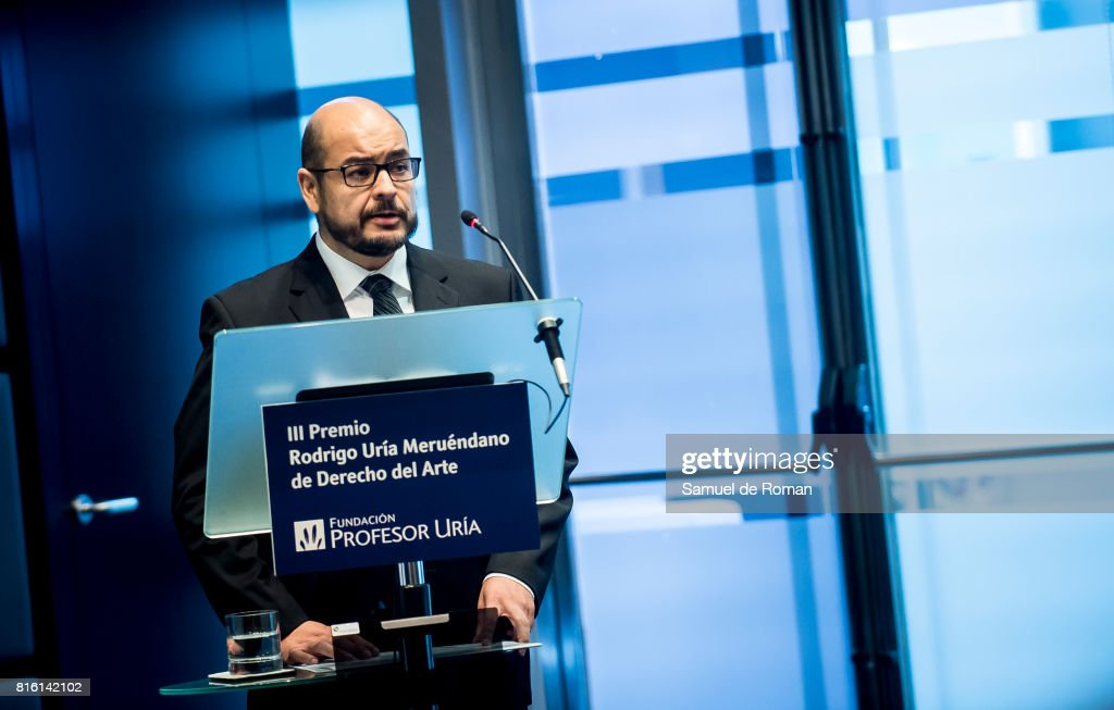Antoni Rubi Puig delivers a speech during the Rodrigo Uria Meruedano Tribute on July 17, 2017 in Madrid, Spain.