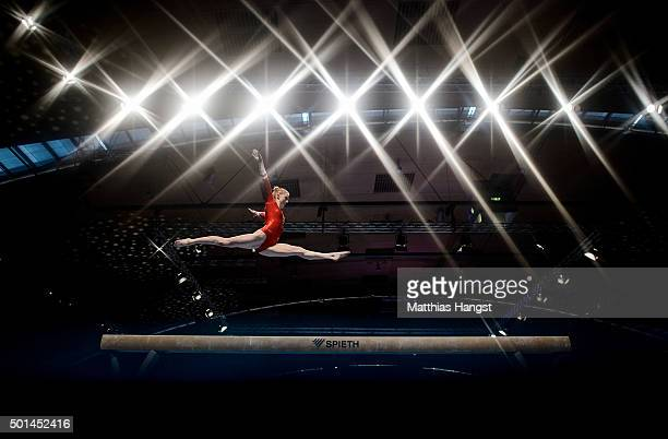 Antonia Alicke of MTV Stuttgart competes on the Beam during the Women's DTL Finals 2015 at Messehalle 2 on December 5 2015 in Karlsruhe Germany