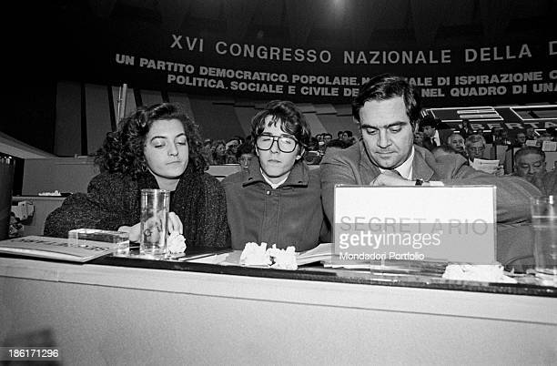 Antonia and Giuseppe, children of Ciriaco De Mita, the Secretary General of the Christian Democracy, seated near Clemente Mastella, at the central...