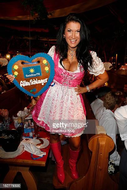 Antonia aus Tirol attends the 'Goldstar TV Wiesn' as part of the Oktoberfest beer festival at Weinzelt on September 25 2012 in Munich Germany