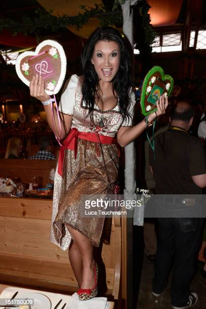 Antonia aus Tirol attends the 'Goldstar TV Wiesn' as part of the Oktoberfest beer festival at Weinzelt at Theresienwiese on September 24, 2013 in...