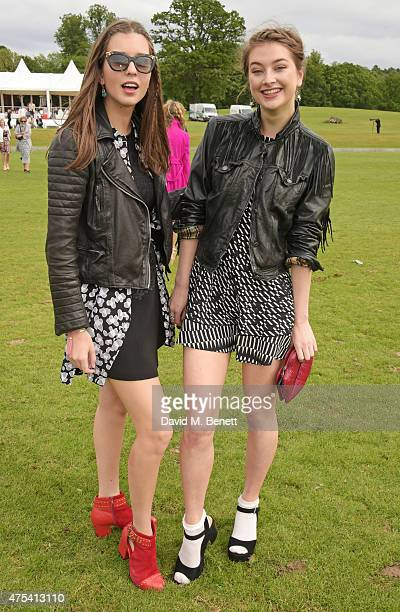 Antonia Clarke and guest attend day two of the Audi Polo Challenge at Coworth Park on May 31 2015 in London England