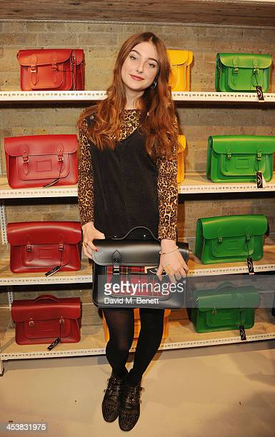 Antonia Clarke attends The Cambridge Satchel Company launch of their East London pop up store on December 5 2013 in London England