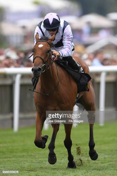 Antonia De Vega ridden by Harry Bentley wins the Rossdales British EBF Maiden Fillies' Stakes during day three of The Moet Chandon July Festival at...