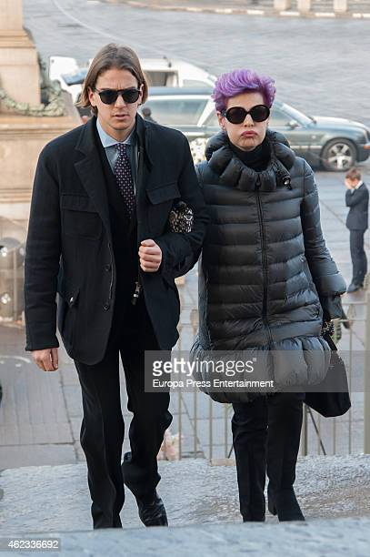Antonia DellAtte and Clemente Lequio attend the funeral service for Princess Sandra Torlonia grand daughter of King Alfonso XIII of Spain on January...
