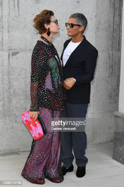 Antonia Dell'Atte and Rosario Fiorello arrive the Giorgio Armani show during Milan Fashion Week Spring/Summer 2019 on September 23 2018 in Milan Italy