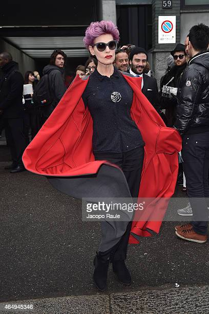 Antonia Dell'Atte arrives at the Giorgio Armani show during the Milan Fashion Week Autumn/Winter 2015 on March 2 2015 in Milan Italy