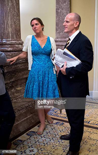 Antonia Ferrier, former aide to Sen. Orrin Hatch, R-Utah, and Sean Neary, former aide to former Sen. Max Baucus, D-Mont., are pictured in the Capitol...