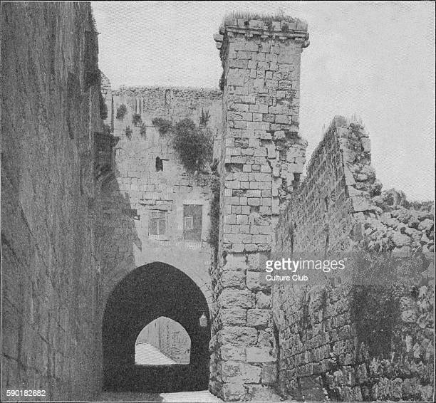 Antonia Fortress also known as the Tower of Antonia Jerusalem early 20th century view Military barracks built by Herod the Great c19BC Roman client...