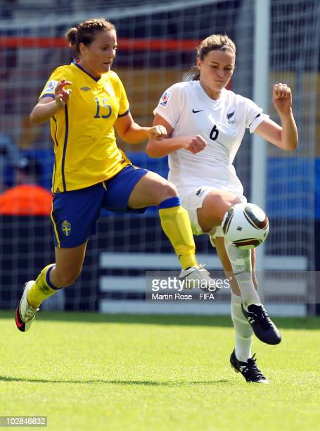 Antonia Goransson of Sweden and Bridgette Armstrong of New Zealand compete for the ball during the 2010 FIFA Women's World Cup Group B match between...