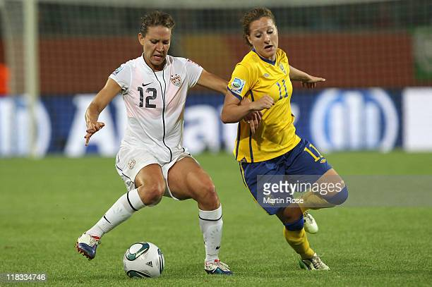 Antonia Goransson of Sweden and Lauren Cheney of USA battle for the ball during the FIFA Women's World Cup 2011 Group C match between Sweden and USA...