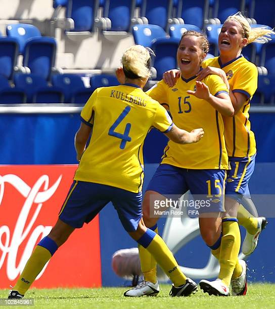 Antonia Goransson of Sweden celebrates after she scores her team's 2nd goal during the 2010 FIFA Women's World Cup Group B match between Sweden and...