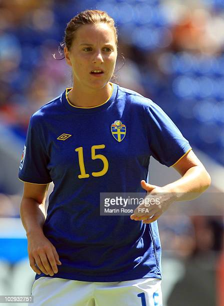 Antonia Goransson of Sweden gestures during the 2010 FIFA Women's World Cup Group B match between Brazil and Sweden at the Bielefeld Arena on July 16...