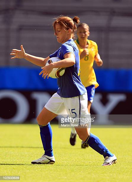 Antonia Goransson of Sweden stops the ball during the 2010 FIFA Women's World Cup Group B match between Brazil and Sweden at the Bielefeld Arena on...