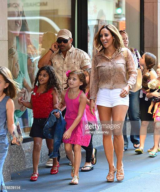 Antonia Gorga Joe Gorga Gabriella Giudice and Melissa Gorga seen on the streets of Manhattan after attending ANNIE the Musical on August 14 2013 in...